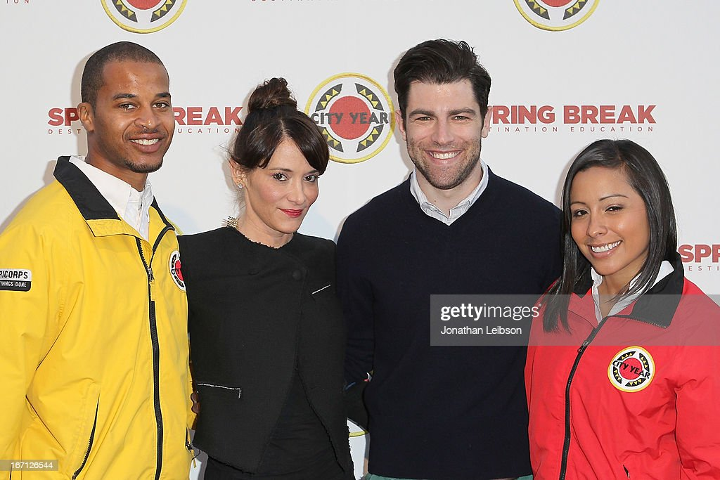 Tess Sanchez, <a gi-track='captionPersonalityLinkClicked' href=/galleries/search?phrase=Max+Greenfield&family=editorial&specificpeople=599135 ng-click='$event.stopPropagation()'>Max Greenfield</a> (R) and City Year Los Angeles AmeriCorps members attend the City Year Los Angeles' Spring Break: Destination Education at Sony Pictures Studios on April 20, 2013 in Culver City, California.