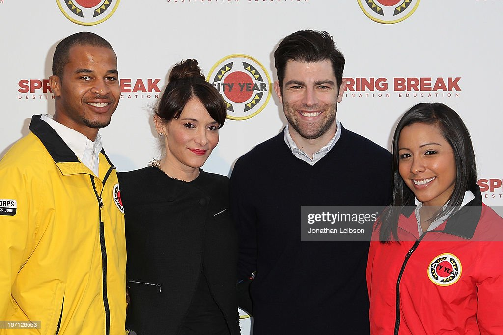 Tess Sanchez, Max Greenfield (R) and City Year Los Angeles AmeriCorps members attend the City Year Los Angeles' Spring Break: Destination Education at Sony Pictures Studios on April 20, 2013 in Culver City, California.