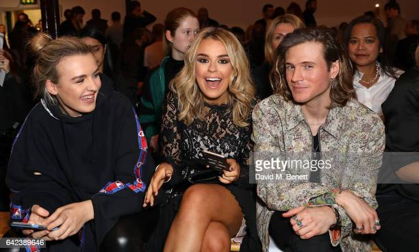 Tess Storm Tallia Storm and Dougie Poynter attend the PPQ show during the London Fashion Week February 2017 collections at the BFC Show Space on...