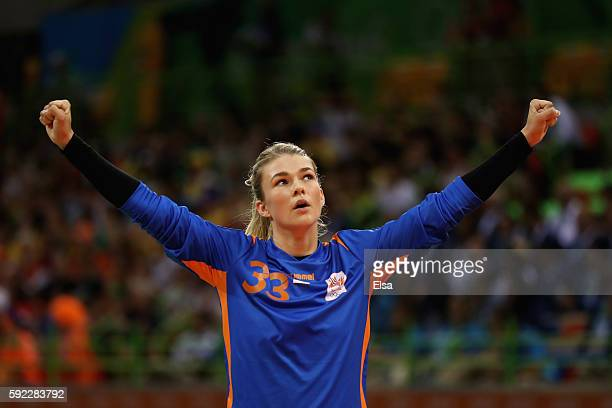 Tess Wester of Netherlands reacts during the Women's Handball Bronze medal match between Netherlands and Norway at Future Arena on Day 15 of the Rio...