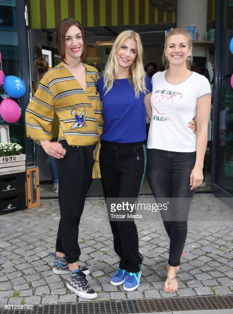 Tessa Bergmeier Tanja Buelter Nina Bott attend the 2nd birthday of Playbrush with the nwe toothbrush launch on July 23 2017 in Hamburg Germany