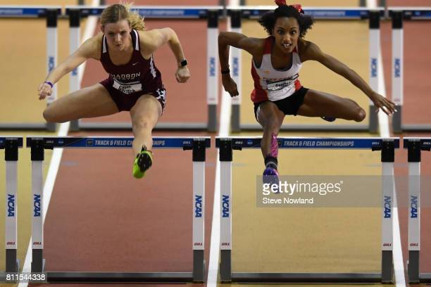 Tessa Gorsuch of Chadron State left and Courtney Nelson of Pittsburgh State compete in the women's 60 meter hurdles during the Division II Men's and...
