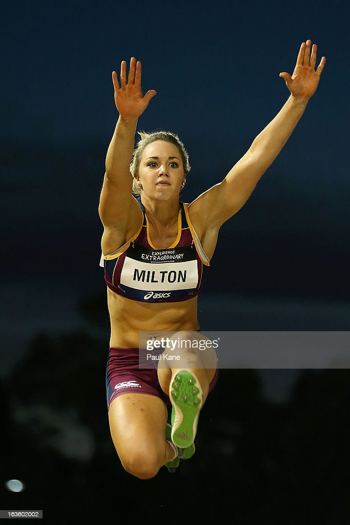 Tessa Milton of Queensland competes in the women's u20 long jump during day two of the Australian Junior Championships at the WA Athletics Stadium on March 13, 2013 in Perth, Australia.