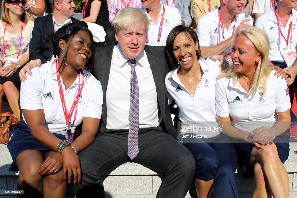 Tessa SandersonWhite London Mayor Boris Johnson Jayne Torvill Dame Kelly Holmes share a laugh as Team GB arrive in the Olympic Village on July 24...