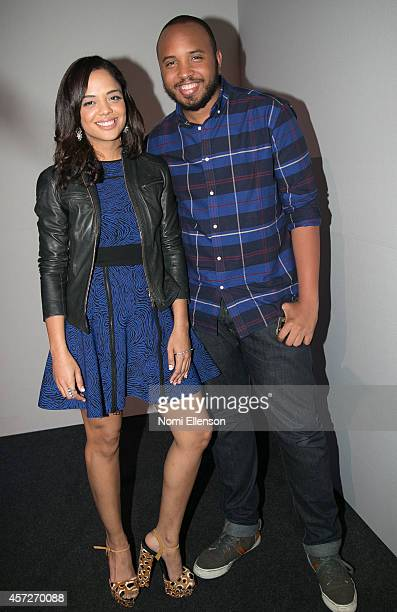 Tessa Thompson and Justin Simien attend Apple Store Soho Presents Meet the Filmmakers Justin Simien And Tessa Thompson 'Dear White People' at Apple...