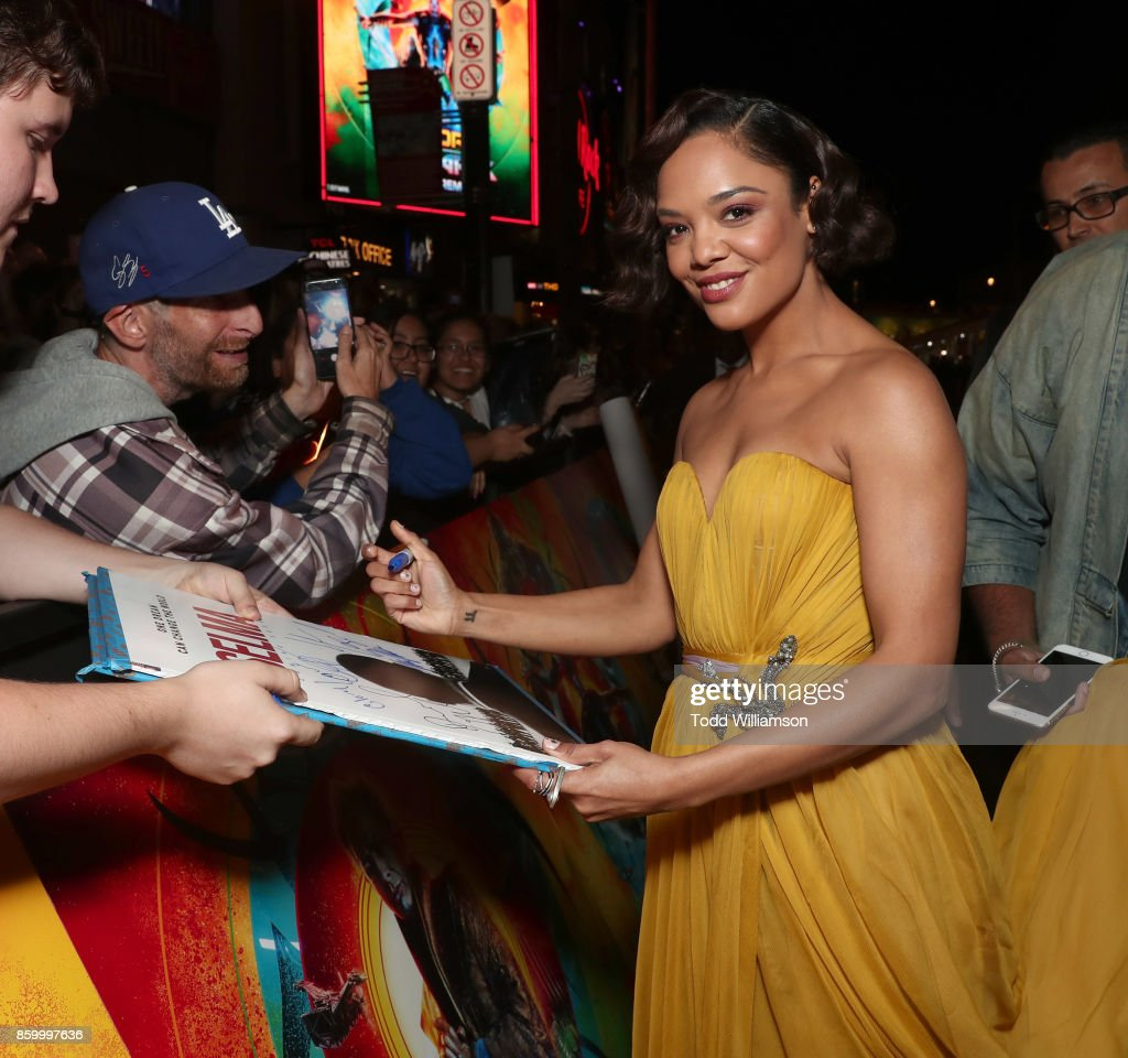 Tessa Thompson attends the premiere of Disney And Marvel's 'Thor: Ragnarok' on October 10, 2017 in Los Angeles, California.