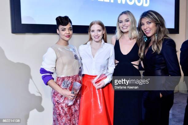 Tessa Thompson Jessica Chastain Margot Robbie and ELLE EditorinChief Nina Garcia attend ELLE's 24th Annual Women in Hollywood Celebration presented...
