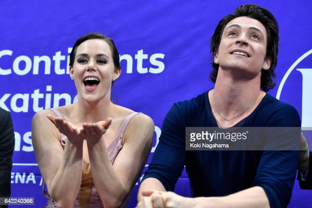 Tessa Virtue and Scott Moir of Canada celebrates at the kiss and cry after the Ice Dance Free Dance during ISU Four Continents Figure Skating...