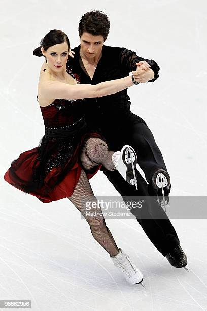 Tessa Virtue and Scott Moir of Canada compete in the Figure Skating Compulsory Ice Dance on day 8 of the Vancouver 2010 Winter Olympics at the...