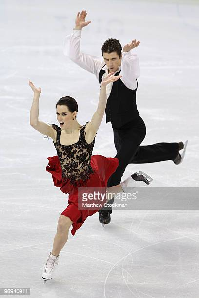 Tessa Virtue and Scott Moir of Canada compete in the figure skating ice dance original dance on day 10 of the Vancouver 2010 Winter Olympics at the...