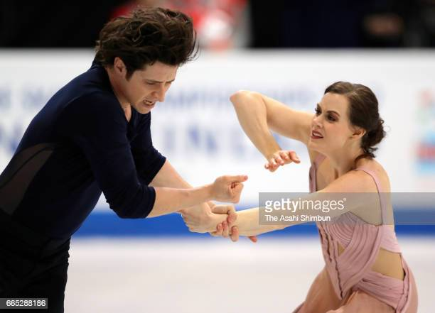Tessa Virtue and Scott Moir of Canada compete in the Ice Dance Free Dance during day four of the World Figure Skating Championships at Hartwall Arena...