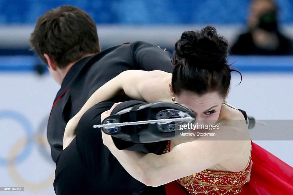 Tessa Virtue and Scott Moir of Canada compete in the Team Ice Dance Free Dance during day two of the Sochi 2014 Winter Olympics at Iceberg Skating Palace onon February 9, 2014 in Sochi, Russia.