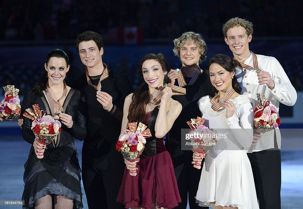 <a gi-track='captionPersonalityLinkClicked' href=/galleries/search?phrase=Tessa+Virtue&family=editorial&specificpeople=793314 ng-click='$event.stopPropagation()'>Tessa Virtue</a> and <a gi-track='captionPersonalityLinkClicked' href=/galleries/search?phrase=Scott+Moir&family=editorial&specificpeople=793313 ng-click='$event.stopPropagation()'>Scott Moir</a> of Canada, <a gi-track='captionPersonalityLinkClicked' href=/galleries/search?phrase=Meryl+Davis&family=editorial&specificpeople=3995758 ng-click='$event.stopPropagation()'>Meryl Davis</a> and Charlie White of USA and <a gi-track='captionPersonalityLinkClicked' href=/galleries/search?phrase=Madison+Chock&family=editorial&specificpeople=6471803 ng-click='$event.stopPropagation()'>Madison Chock</a> and <a gi-track='captionPersonalityLinkClicked' href=/galleries/search?phrase=Evan+Bates&family=editorial&specificpeople=4839407 ng-click='$event.stopPropagation()'>Evan Bates</a> of USA pose after the medals ceremony for the Ice Dance competition during day three of the ISU Four Continents Figure Skating Championships at Osaka Municipal Central Gymnasium on February 10, 2013 in Osaka, Japan.