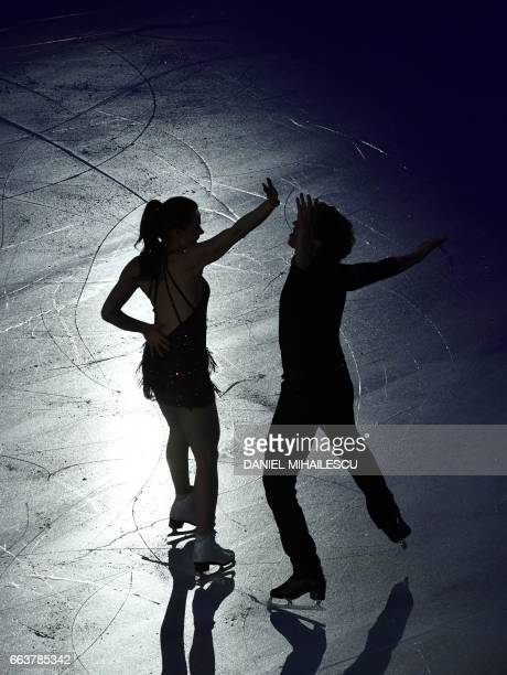 Tessa Virtue and Scott Moir of Canada perform during the Gala show at the end of ISU World Figure Skating Championships 2017 in Helsinki Finland...