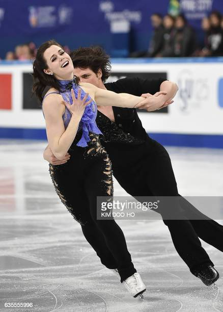 Tessa Virtue and Scott Moir of Canada perform during the ice dance short dance event at the ISU Four Continents Figure Skating Championships in...