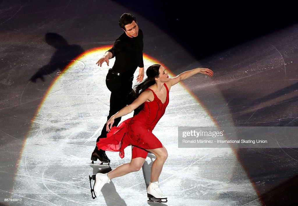 Tessa Virtue and Scott Moir of Canada perform in the exhibition gala during the ISU Grand Prix of Figure Skating at Brandt Centre on October 29, 2017 in Regina, Canada.