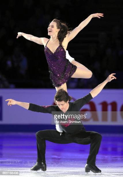 Tessa Virtue and Scott Moir of Canada perform in the gala exhibition during day five of the World Figure Skating Championships at Hartwall Arena on...