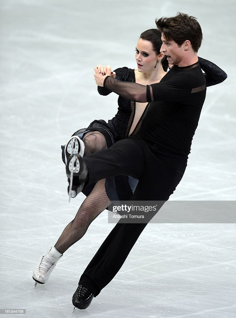 <a gi-track='captionPersonalityLinkClicked' href=/galleries/search?phrase=Tessa+Virtue&family=editorial&specificpeople=793314 ng-click='$event.stopPropagation()'>Tessa Virtue</a> and <a gi-track='captionPersonalityLinkClicked' href=/galleries/search?phrase=Scott+Moir&family=editorial&specificpeople=793313 ng-click='$event.stopPropagation()'>Scott Moir</a> of Canada skate in the Ice Dance Free Dance during day three of the ISU Four Continents Figure Skating Championships at Osaka Municipal Central Gymnasium on February 10, 2013 in Osaka, Japan.