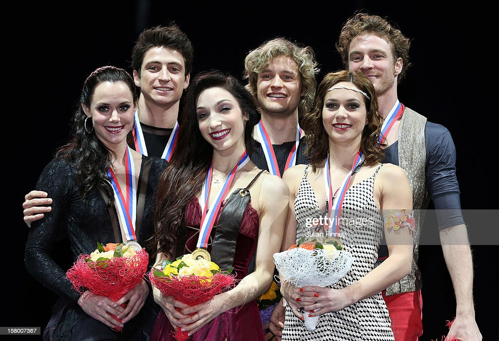 Tessa Virtue and Scott Moir of Canada with their silver medals, Meryl Davis and Charlie White of USA with their gold medals and Nathalie Pechalat and Fabian Bourzat of France with their bronze medals after the Ice Dance Free Dance during the Grand Prix of Figure Skating Final 2012 at the Iceberg Skating Palace on December 8, 2012 in Sochi, Russia.