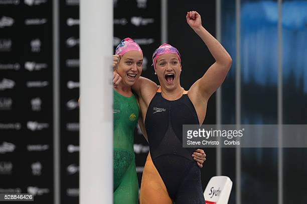 Tessa Wallace and teammate Tianni Gilmore celebrate after competing in the Women's 400m Individual Medley during the Hancock Prospecting Australian...