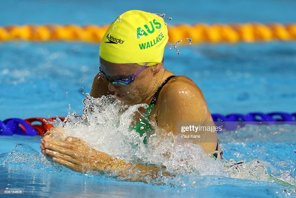 Tessa Wallace of Australia competes in the Women's 4x50 Metre Medley Relay during the 2016 Aquatic Superseries at HBF Stadium on February 6, 2016 in Perth, Australia.
