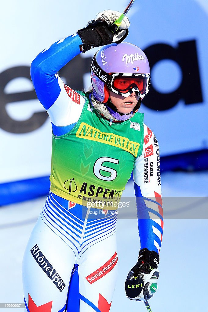 Tessa Worley of France celebrates as she finishes in sixth place in the women's giant slalom at the Nature Valley Aspen Winternational Audi FIS Ski World Cup at Aspen Mountain on November 24, 2012 in Aspen, Colorado.