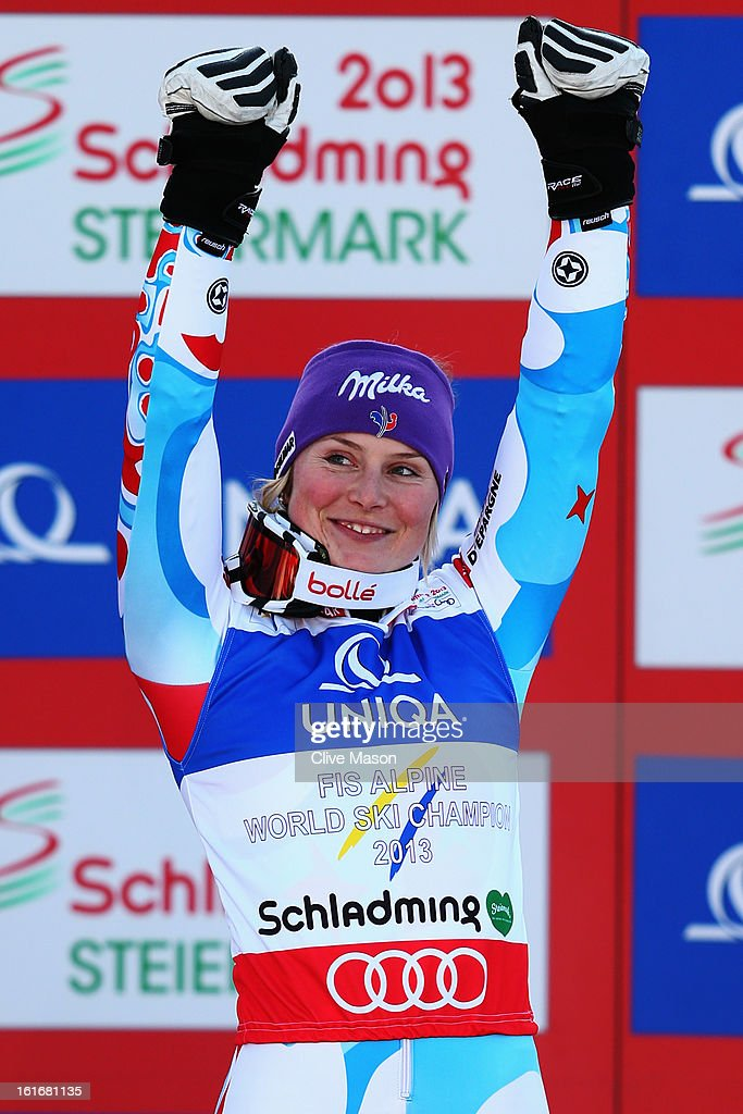 Tessa Worley of France celebrates at the flower ceremony after winning the Women's Giant Slalom during the Alpine FIS Ski World Championships on February 14, 2013 in Schladming, Austria.