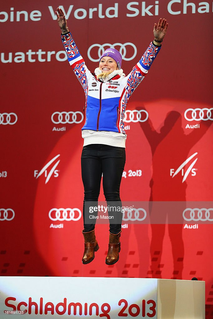 Tessa Worley of France celebrates at the medal ceremony after winning the Women's Giant Slalom during the Alpine FIS Ski World Championships on February 14, 2013 in Schladming, Austria.