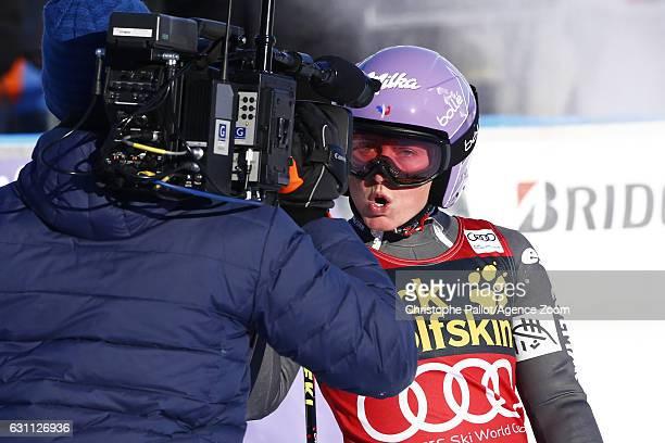Tessa Worley of France celebrates during the Audi FIS Alpine Ski World Cup Women's Giant Slalom on January 07 2017 in Maribor Slovenia