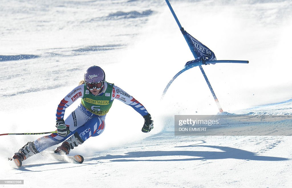 Tessa Worley of France clears a gate during the first run of the women's World Cup giant slalom in Aspen on November 24, 2012. AFP PHOTO/Don EMMERT