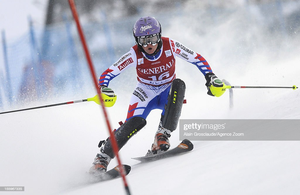 Tessa Worley of France competes during the Audi FIS Alpine Ski World Cup Women's Slalom on November 10, 2012 in Levi, Finland.