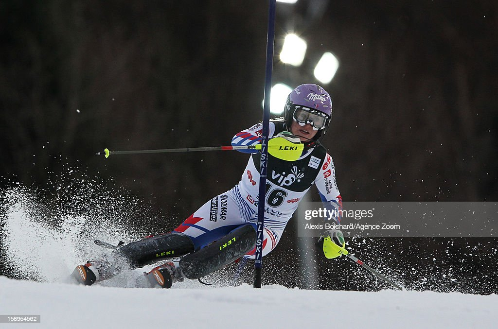Tessa Worley of France competes during the Audi FIS Alpine Ski World Cup Women's Slalom on January 4, 2013 in Zagreb, Croatia.
