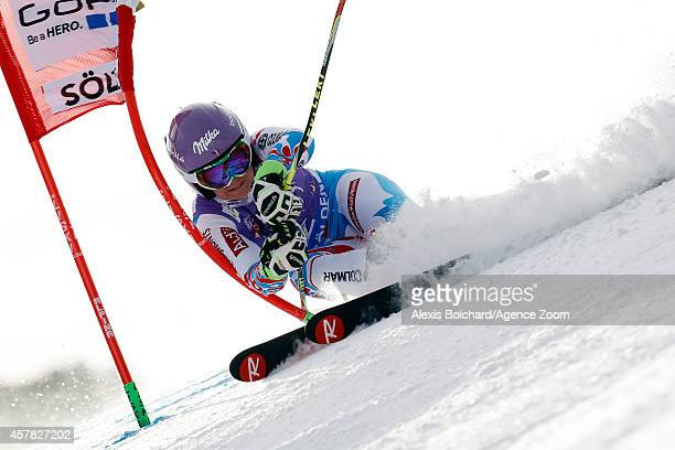 Tessa Worley of France competes during the Audi FIS Alpine Ski World Cup Women's Giant Slalom on October 25 2014 in Soelden Austria
