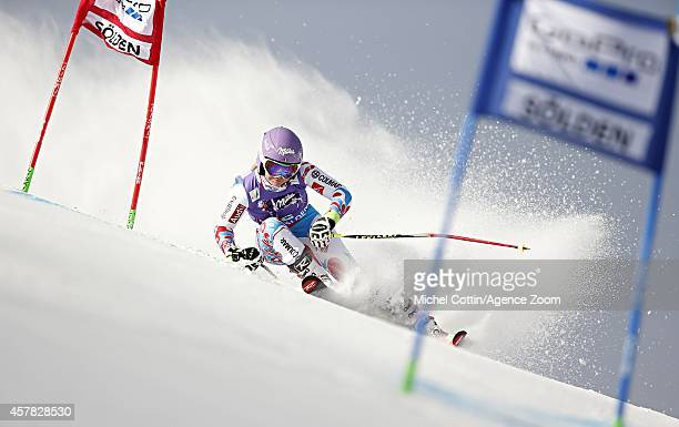 Tessa Worley of France competes during the Audi FIS Alpine Ski World Cup Women' Giant Slalom on October 25 2014 in Soelden Austria