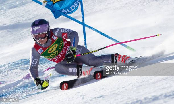 Tessa Worley of France competes during the women's Giant Slalom event of the FIS ski World cup in Soelden Austria on October 28 2017 / AFP PHOTO /...