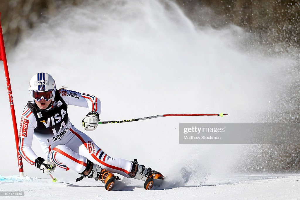 <a gi-track='captionPersonalityLinkClicked' href=/galleries/search?phrase=Tessa+Worley&family=editorial&specificpeople=855344 ng-click='$event.stopPropagation()'>Tessa Worley</a> #14 of France competes in the first run of the Giant Slalom during the Audi FIS World Cup Aspen Winternational on November 27, 2010 in Aspen, Colorado. Worley won the Giant Slalom event.