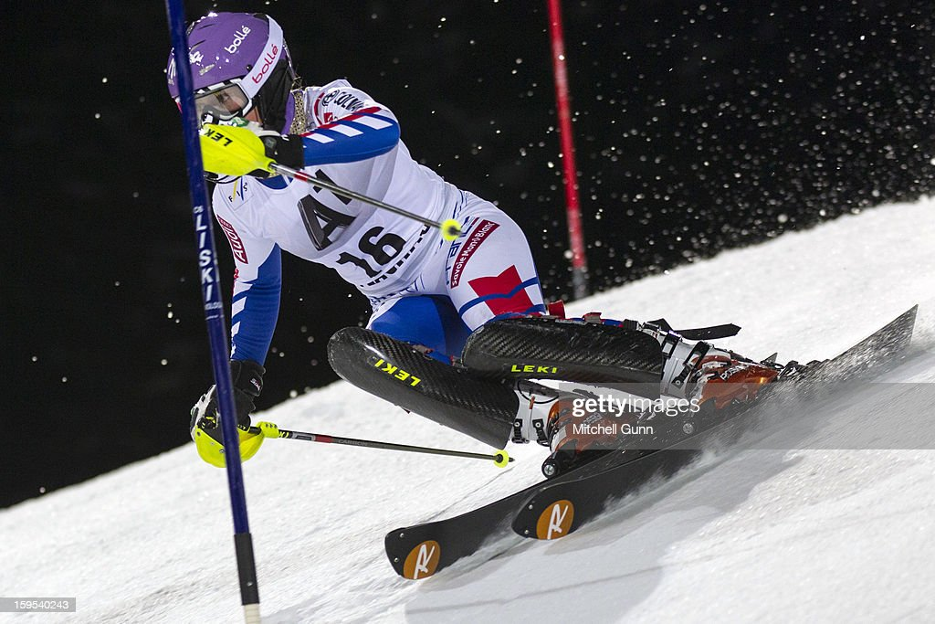 Tessa Worley of France races down the course whilst competing in the Audi FIS Alpine Ski World Cup Slalom race on January 15, 2013 in Flachau, Austria.
