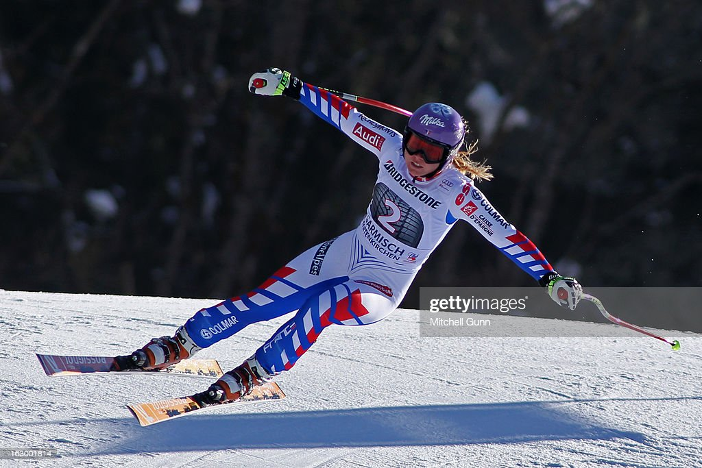 <a gi-track='captionPersonalityLinkClicked' href=/galleries/search?phrase=Tessa+Worley&family=editorial&specificpeople=855344 ng-click='$event.stopPropagation()'>Tessa Worley</a> of France races down the hill whilst competing in the Audi FIS Ski World Cup Super-G race on March 03, 2013 in Garmisch Partenkirchen, Germany.