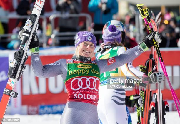 Tessa Worley of France reacts after finishing the the women's Giant Slalom event of the FIS ski World cup in Soelden Austria on October 28 2017...