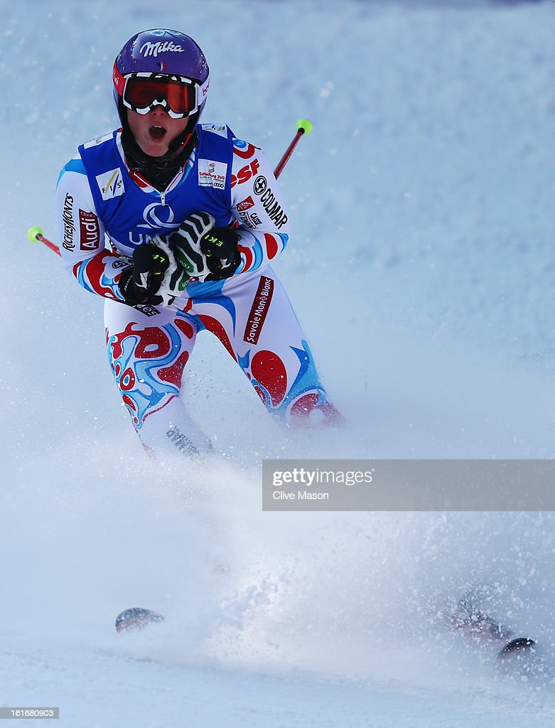 Tessa Worley of France reacts in the finish area after winning the Women's Giant Slalom during the Alpine FIS Ski World Championships on February 14, 2013 in Schladming, Austria.