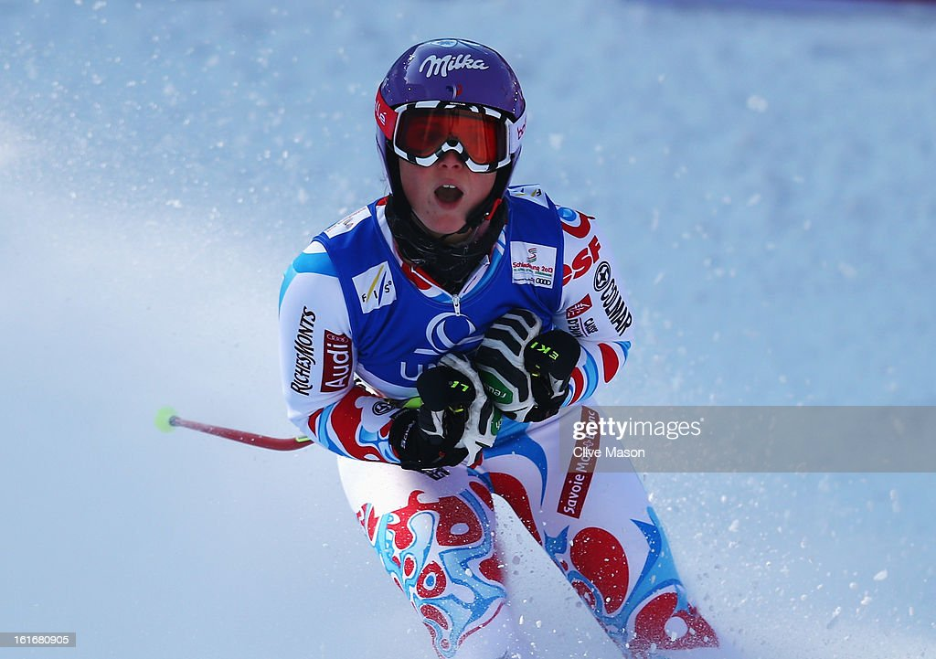 <a gi-track='captionPersonalityLinkClicked' href=/galleries/search?phrase=Tessa+Worley&family=editorial&specificpeople=855344 ng-click='$event.stopPropagation()'>Tessa Worley</a> of France reacts in the finish area after winning the Women's Giant Slalom during the Alpine FIS Ski World Championships on February 14, 2013 in Schladming, Austria.