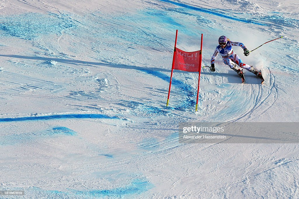 <a gi-track='captionPersonalityLinkClicked' href=/galleries/search?phrase=Tessa+Worley&family=editorial&specificpeople=855344 ng-click='$event.stopPropagation()'>Tessa Worley</a> of France skis on her way to winning the Women's Giant Slalom during the Alpine FIS Ski World Championships on February 14, 2013 in Schladming, Austria.