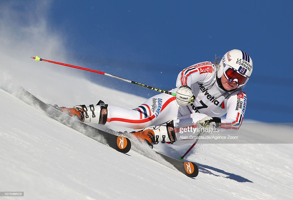 <a gi-track='captionPersonalityLinkClicked' href=/galleries/search?phrase=Tessa+Worley&family=editorial&specificpeople=855344 ng-click='$event.stopPropagation()'>Tessa Worley</a> of France takes 1st place during the Audi FIS Alpine Ski World Cup Women's Giant Slalom on December 12, 2010 in St.Moritz, Switzerland.