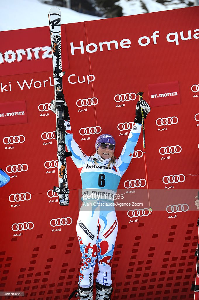 <a gi-track='captionPersonalityLinkClicked' href=/galleries/search?phrase=Tessa+Worley&family=editorial&specificpeople=855344 ng-click='$event.stopPropagation()'>Tessa Worley</a> of France takes 1st place during the Audi FIS Alpine Ski World Cup Women's Giant Slalom on December 15, 2013 in St. Moritz, Switzerland.