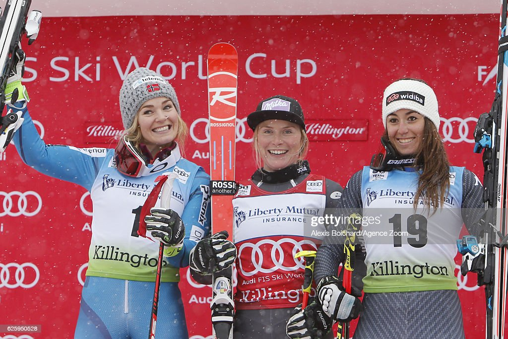 Tessa Worley of France takes 1st place, Nina Loeseth of Norway takes 2nd place, Sofia Goggia of Italy takes 3rd place during the Audi FIS Alpine Ski World Cup Women's Giant Slalom on November 26, 2016 in Killington, Vermont.