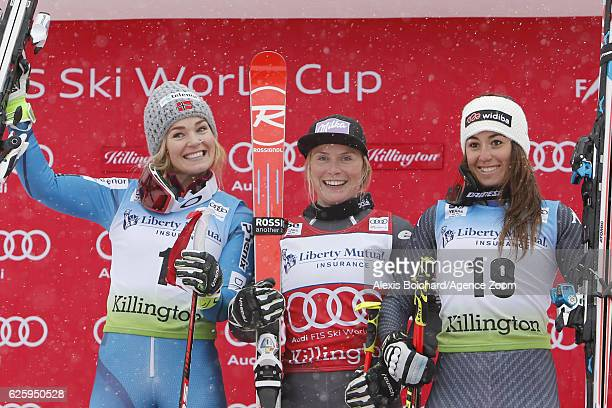 Tessa Worley of France takes 1st place Nina Loeseth of Norway takes 2nd place Sofia Goggia of Italy takes 3rd place during the Audi FIS Alpine Ski...