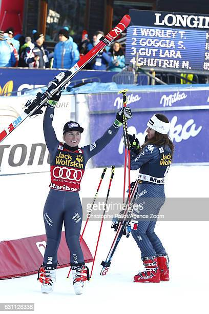 Tessa Worley of France takes 1st place Sofia Goggia of Italy takes 2nd place during the Audi FIS Alpine Ski World Cup Women's Giant Slalom on January...