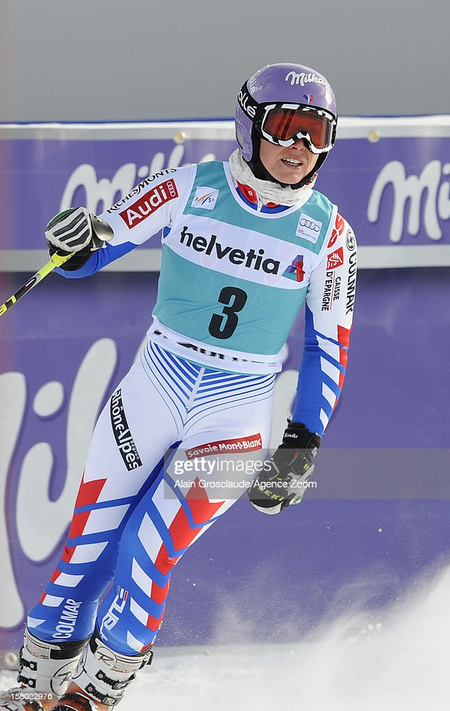 <a gi-track='captionPersonalityLinkClicked' href=/galleries/search?phrase=Tessa+Worley&family=editorial&specificpeople=855344 ng-click='$event.stopPropagation()'>Tessa Worley</a> of France takes 2nd place during the Audi FIS Alpine Ski World Cup Women's Giant Slalom on December 09, 2012 in St. Moritz, Switzerland.