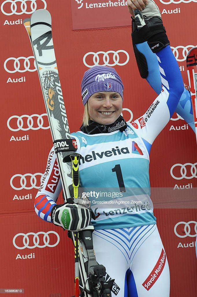 Tessa Worley of France takes 2nd place during the Audi FIS Alpine Ski World Cup WomenÕs Giant Slalom on March 17, 2013 in Lenzerheide, Switzerland.