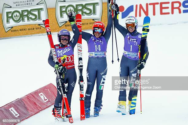 Tessa Worley of France takes 2nd place Federica Brignone of Italy takes 1st place Marta Bassino of Italy takes 3rd place during the Audi FIS Alpine...